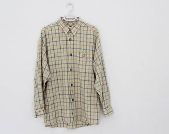 Vintage Cotton Shirt Plaid tartan Shirt With Long Sleeves Classic Collar Checkered Cotton Shirt Button up Shirt Pale Beige Faded Oversized