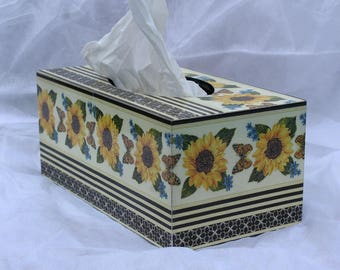 Sun Flower and Butterfly Tissue Box Cover, Wooden Tissue Box Cover, Unique gift for yourself or someone else, Decoupage Item