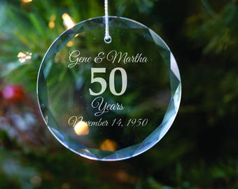 Personalized Crystal Holiday Ornament -  50th Anniversary - Christmas Tree Decoration - Husband Gift - Anniversary Gift - Gift for Parents