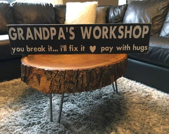 Granpa's workshop sign - FREE SHIPPING-grandpa gift ideas - workshop gift -unique granpa gift- grandfather sign- Father's Day gift idea