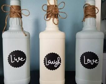 Painted Whiskey Bottle Set