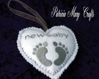 Personalised baby feet heart, embroidered heart, felt heart