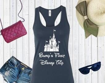 Bump's First Disney Trip Tank Top. Family Disney Shirts. Matching Family Disney Tanks. [E0331]
