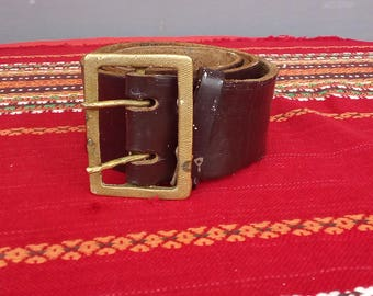 Vintage Leather Belt, Military Belt, Adjustable Belt, Mens Belt, Soldiers Belt, Genuine Leather Belt, Mlitary Uniform Belt, Soviet Army Belt