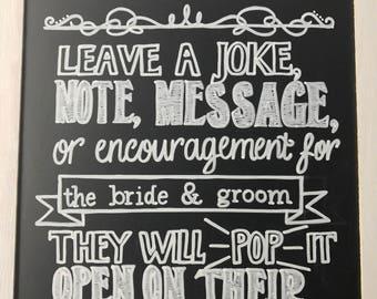Wedding Piñata Chalkboard Sign