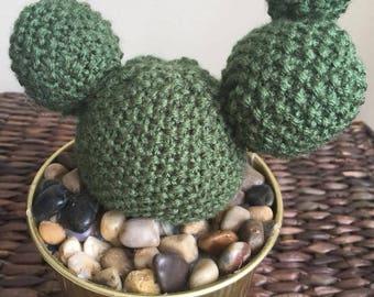 READY TO SHIP Knit Three-Bobble Cactus in Tin Pot