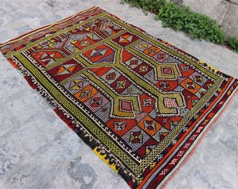 Vintage Turkish Konya Kilim, Turkish Kilim Rug, Home Decor, Home Design, Vintage Turkish Kilim, Kilim, Kilim Rug