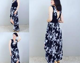 Dress woman, long and asymmetrical, patterns, flowers, black and white dress, black dress woman, long dress woman, dress Bohemian, backless, romantic