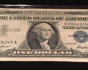 1957 Blue Seal Certificate; Blue Seal Dollar Bill