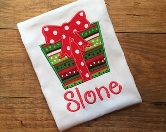Girls Christmas shirt, personalized christmas shirt, monogrammed christmas shirt, christmas shirt with present, christmas present shirt,name