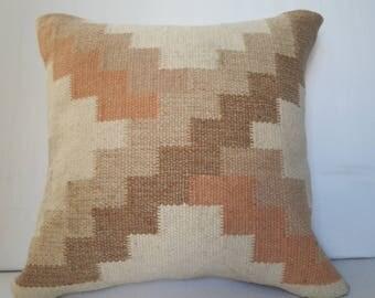 "CREAM 20""x20"" Oushag Pillow,Pastel Pillow,Burlap Pillow Cover,Geometric Pillow,Home Design Pillow,Office Pillow,Saloon Pillow,Cusion,EB8"