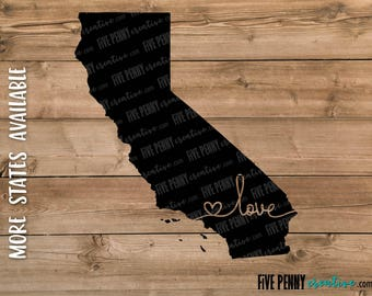 Love California State (SVG, PNG, EPS, Cricut, Silhouette, cutting file, vector file)