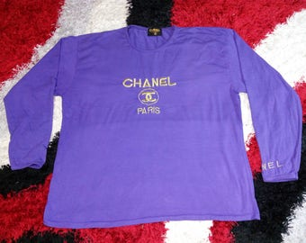 RARE!!! Vintage 90's Channel Paris Long Sleeve Embroidery Big Spell Out Logo Purple