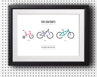 Personalised bike family print, Family bike print, House warming present, New home gift, Cycling gift, A3 print, (Unframed)