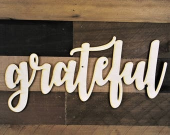 Grateful Word Sign, Grateful Wood cut out, 3d Wood Sign, Grateful word cut out, Greateful Cursive Word, word cut out, custom word cutout