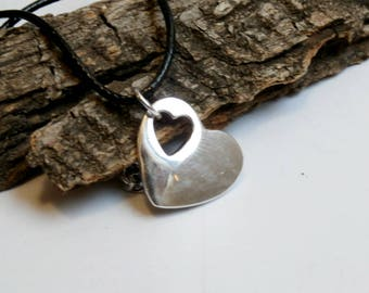 Double Heart Minimalist Choker Necklace, Shiny Silver Heart Choker, Punched heart, Vegan Necklace, Love Necklace