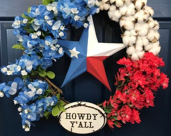 Texas Flag Wreath with Bluebonnets, Indian Paintbrush, and Cotton Bolls