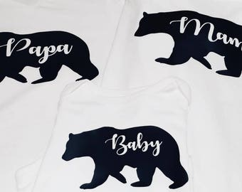 Mama,papa,baby bear shirts (set)