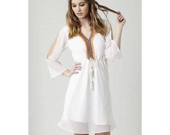 Short dress in georgette with open shoulders - Vestido corto en georgette con hombros abiertos