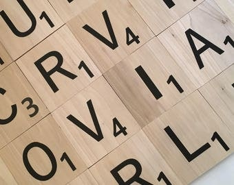 Large Wooden Scrabble Tiles - Scrabble Letters - Personalized Wood Scrabble Letters - Wall Art - Giant Letters