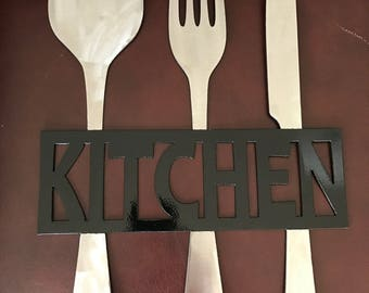 Special Order for Miranda:  Kitchen Metal Sign, Knife Fork and Spoon