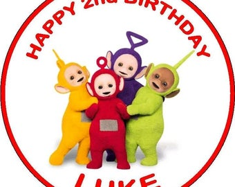 Teletubbies edible cake topper 7.5 inch personalized