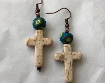Cross stone earrings