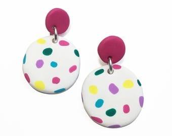 Two-Piece Janes // Polymer clay dangle earrings // Drop stud earrings // Pink + Rainbow spot // Statement earrings // Statement jewellery