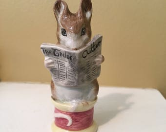 """BEATRIX POTTER """"Tailor of Gloucester"""" -reading Mouse on a spool- Beswick, England 1949"""