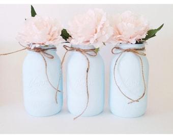 Blue Mason Jars, Blue Centerpieces, Boy Baby Shower Decorations