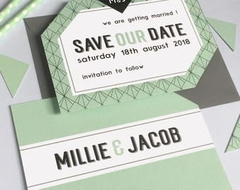 Modern Geometric Save the Date Wedding Stationery Suite - SAMPLE | Millie Range