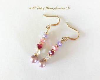 Pink Pearl Swarovski Crystal Dangling Earrings, Bridal Party Jewelry, Special Occasion Earrings, Crystal Earrings, Red, Pink, Lilliac, Gold