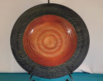 Hand Turned Red Oak Dyed and Textured Wood Bowl