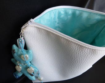 WHITE BLUE POUCH