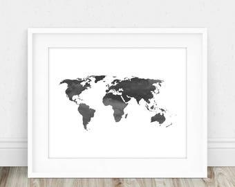 World Map Print - World Map Poster, World Map Watercolor, Large World Map, Printable World Map, Watercolor World Map, Modern World Map