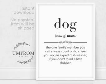 Dog Definition Print, Dog Poster, Dog Printable, Dog Print, Dog Wall Art, Cute Dog Poster, Funny Dog Print, Definition Prints