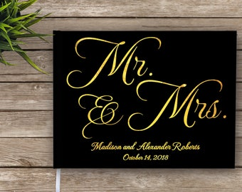 Wedding Guest Book with Gold Foil , Mr and Mrs, Mr & Mrs Guest Book, Guest Book, Real Gold Foil, Wedding Journal, Gold And Black