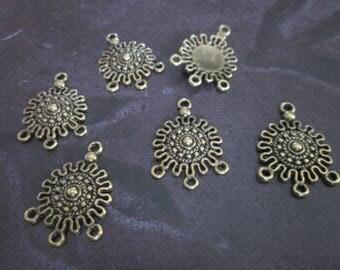 2 beautiful connectors round bronze metal 26 Inca Sun * 2 * 18 mm for earrings