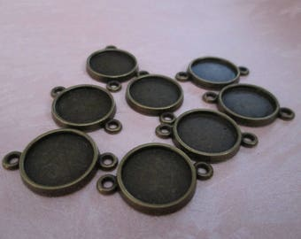 bronze 10 connectors for cabochons 14 mm