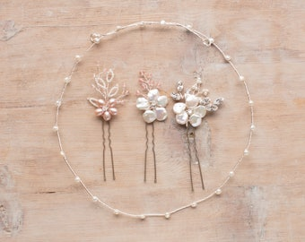Create your own bridal headdress with freshwater pearl garland and hairpins