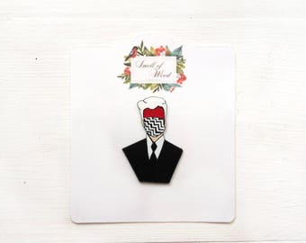 David Lynch Plastic Brooch Pin Patch Twin Peaks Black Red White Gift for her Gift for him