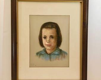 Vintage Framed Portrait / Original Pastel Portrait of Girl / Vintage Portrait Art