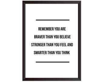 Braver Stronger Smarter Wall Print - Wall Art, Home Decor, Inspirational Print, Motivational Print