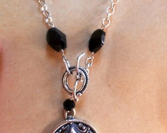 Silver 925 Necklace with black stones