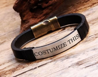 Custom Bracelet, Leather Bracelet, Men's Leather Cuff, Bracelet for Men, Mens Gift, Christmas Gifts, Mens Jewelry, Men Gift, Husband Gift