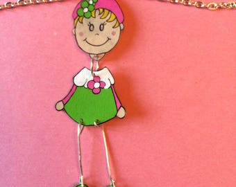 Little girl and pink and Green Flower necklace