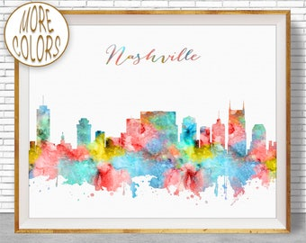 Nashville Skyline Nashville Art Nashville Print Nashville Tennessee Office Decor City Skyline Prints  ArtPrintZone Christmas Gifts