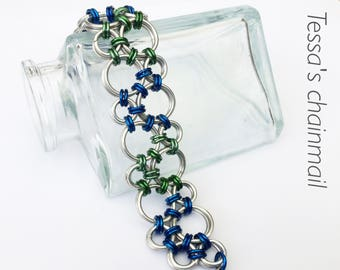 Chainmaille bracelet, old silver with green and blue bracelet, silver and green bracelet, blue and silver bracelet, Tessa's chainmail