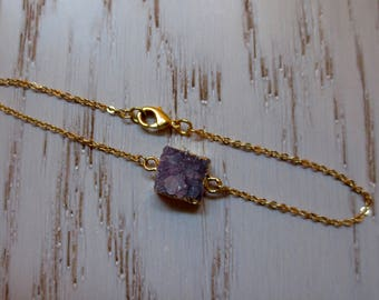 Lilac Druzy Electroformed Gold Bracelet Light Purple