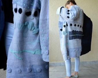 Women coat, Felted coat,  Jacket, Hand made, Clothing, Black -  Blue, Wearable art, Nuno felted, Designer clothing,  Eco-fashion, Wool Coat